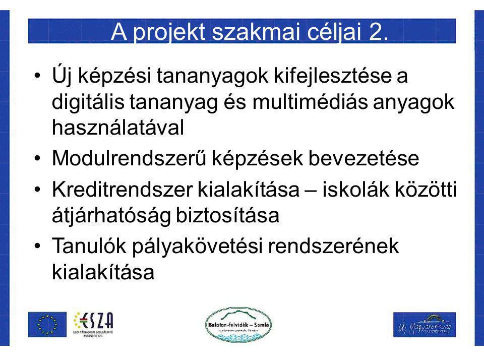 A projekt szakmai céljai 2. Új képzési tananyagok kifejlesztése a digitális tananyag és multimédiás anyagok használatával Modulrendszerű képzések beve