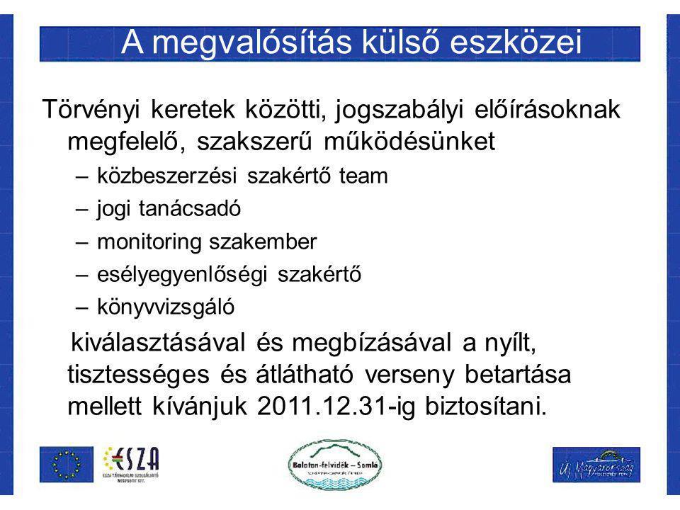 A megvalósítás külső eszközei Törvényi keretek közötti, jogszabályi előírásoknak megfelelő, szakszerű működésünket –közbeszerzési szakértő team –jogi tanácsadó –monitoring szakember –esélyegyenlőségi szakértő –könyvvizsgáló kiválasztásával és megbízásával a nyílt, tisztességes és átlátható verseny betartása mellett kívánjuk 2011.12.31-ig biztosítani.