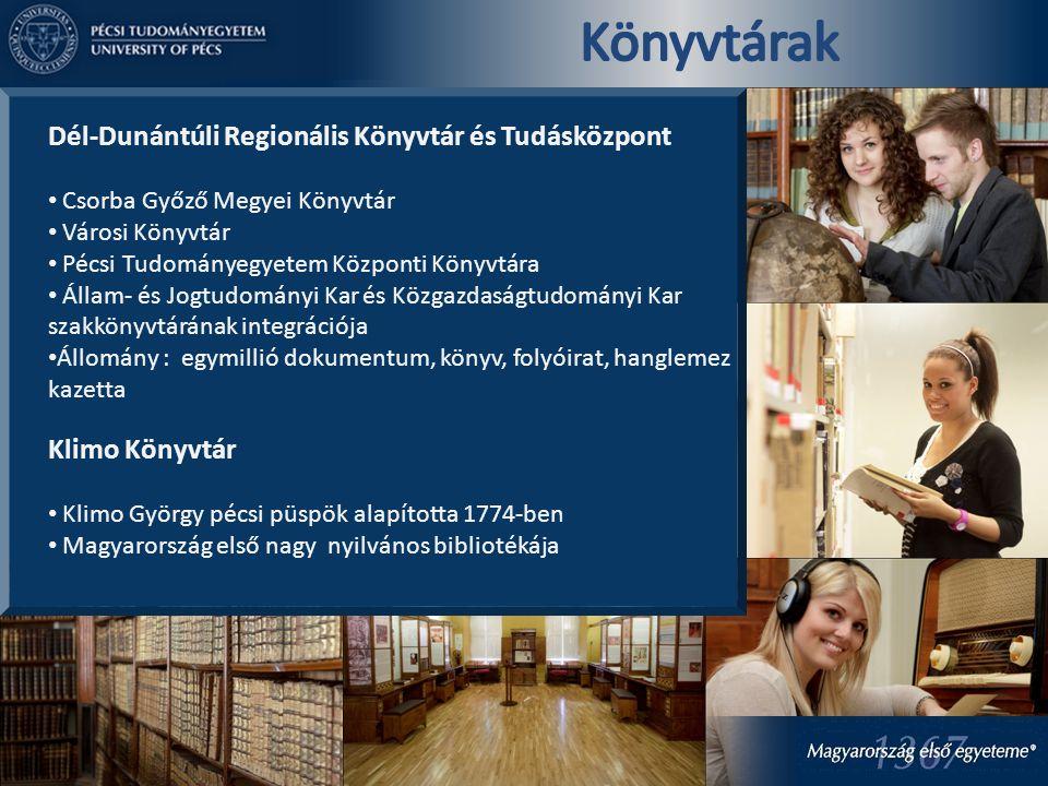 Dél-Dunántúli Regionális Könyvtár és Tudásközpont Csorba Győző Megyei Könyvtár Városi Könyvtár Pécsi Tudományegyetem Központi Könyvtára Állam- és Jogt