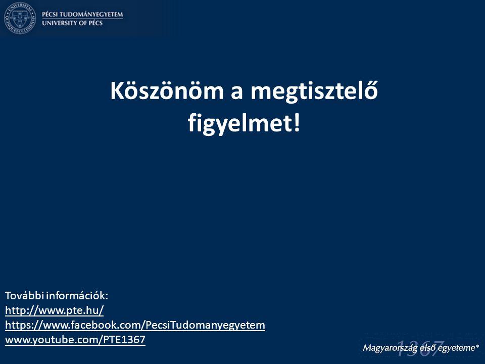 Köszönöm a megtisztelő figyelmet! További információk: http://www.pte.hu/ https://www.facebook.com/PecsiTudomanyegyetem www.youtube.com/PTE1367