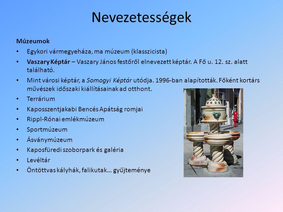 Nevezetességek Múzeumok Egykori vármegyeháza, ma múzeum (klasszicista) Vaszary Képtár – Vaszary János festőről elnevezett képtár.