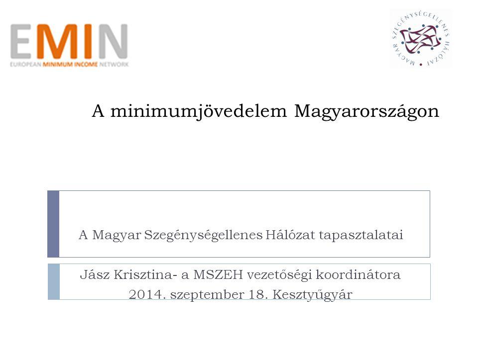 A minimumjövedelem Magyarországon A Magyar Szegénységellenes Hálózat tapasztalatai Jász Krisztina- a MSZEH vezetőségi koordinátora 2014.