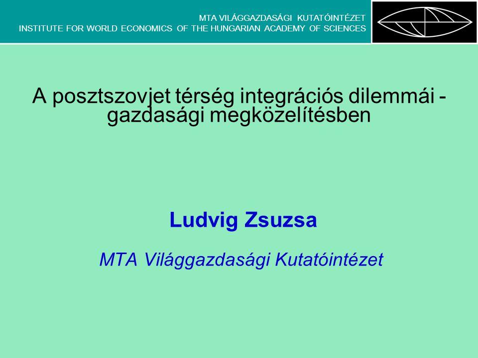 MTA VILÁGGAZDASÁGI KUTATÓINTÉZET INSTITUTE FOR WORLD ECONOMICS OF THE HUNGARIAN ACADEMY OF SCIENCES Következtetések állami szintű, felülről vezérelt integrációk nem igazán életképesek kudarcok főbb okai –túlzó célkitűzések –nemzetek feletti jelleg, szuverenitás problémái (Ukrajna,Belorusszia) –nemzetközi környezeti hatások figyelmen kívül hagyása (pl.