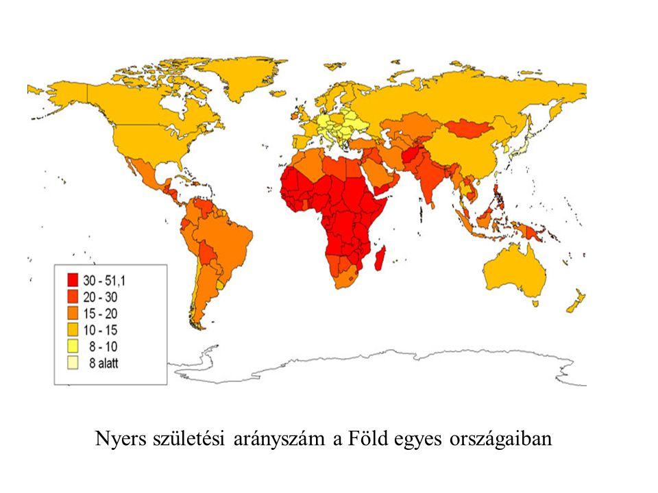 Nyers születési arányszám a Föld egyes országaiban