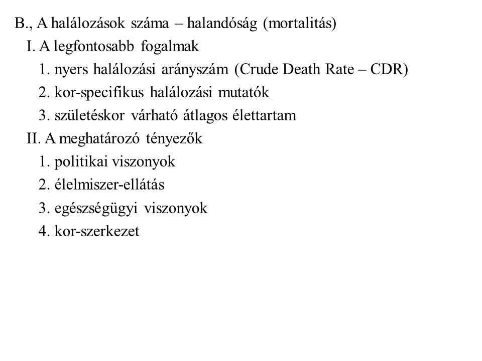 B., A halálozások száma – halandóság (mortalitás) I. A legfontosabb fogalmak 1. nyers halálozási arányszám (Crude Death Rate – CDR) 2. kor-specifikus
