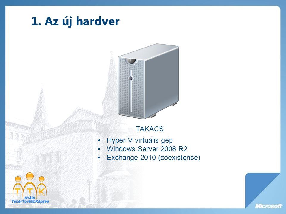 1. Az új hardver TAKACS Hyper-V virtuális gép Windows Server 2008 R2 Exchange 2010 (coexistence)