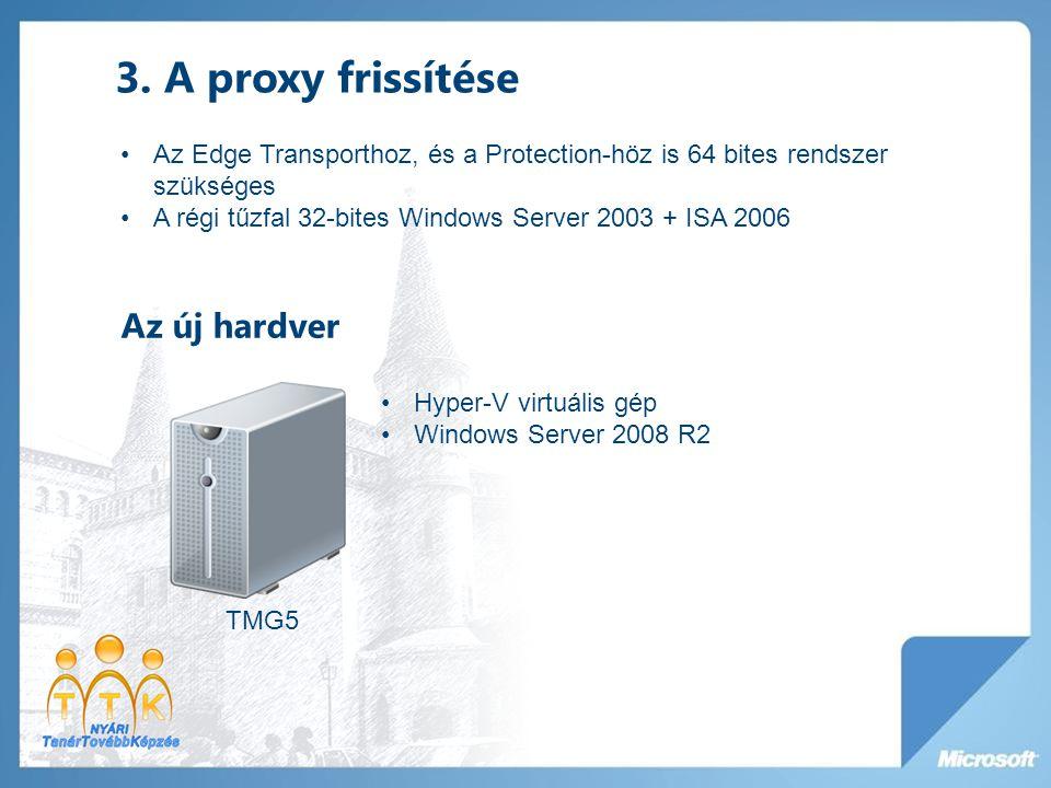 3. A proxy frissítése TMG5 Hyper-V virtuális gép Windows Server 2008 R2 Az Edge Transporthoz, és a Protection-höz is 64 bites rendszer szükséges A rég