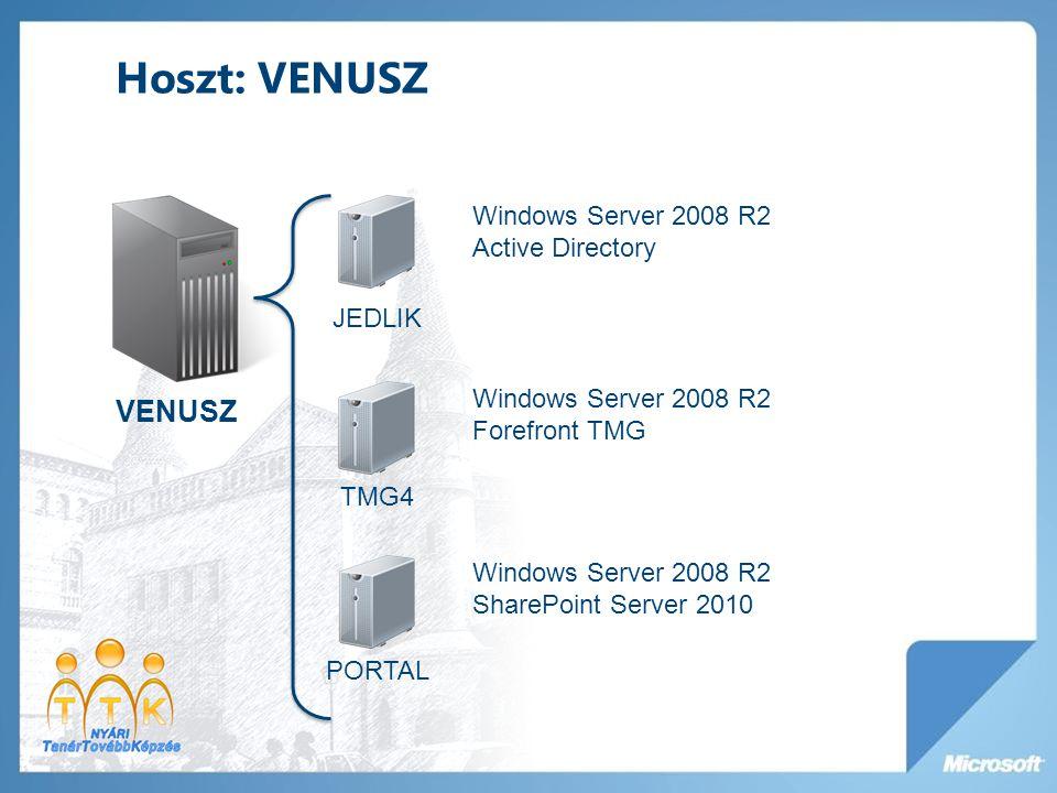 Hoszt: MARS MARS TAKACS Windows Server 2008 R2 Active Directory Exchange 2010 TMG5 Windows Server 2008 R2 Forefront TMG Forefront Protection for Exchange Edge Transport NEUMANN Windows Server 2003 IIS PORTAL fogja váltani