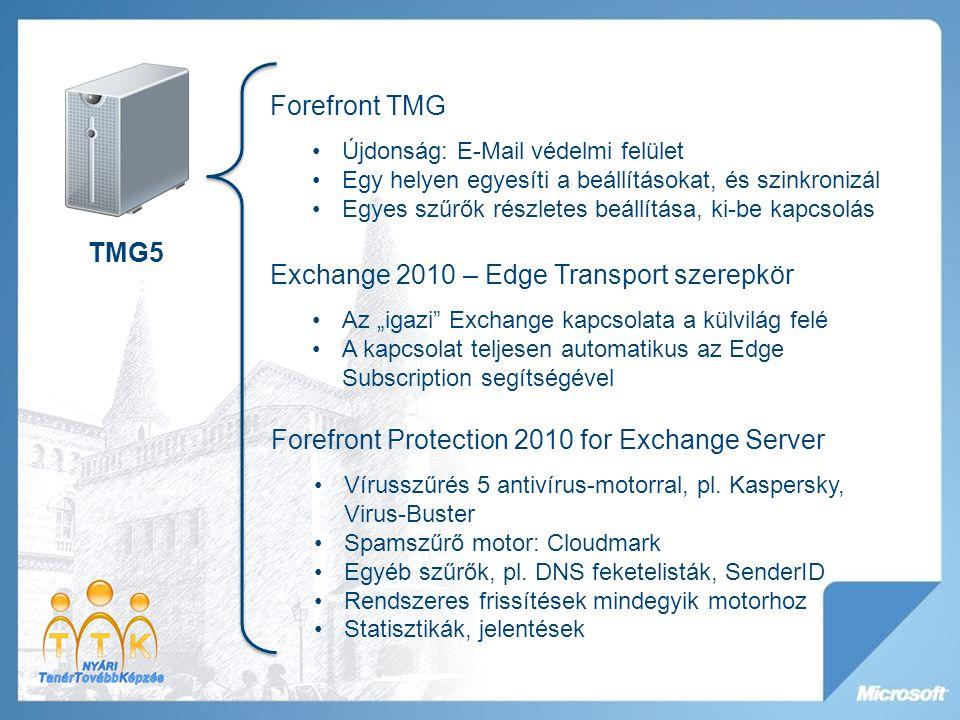 """TMG5 Exchange 2010 – Edge Transport szerepkör Az """"igazi Exchange kapcsolata a külvilág felé A kapcsolat teljesen automatikus az Edge Subscription segítségével Forefront Protection 2010 for Exchange Server Vírusszűrés 5 antivírus-motorral, pl."""