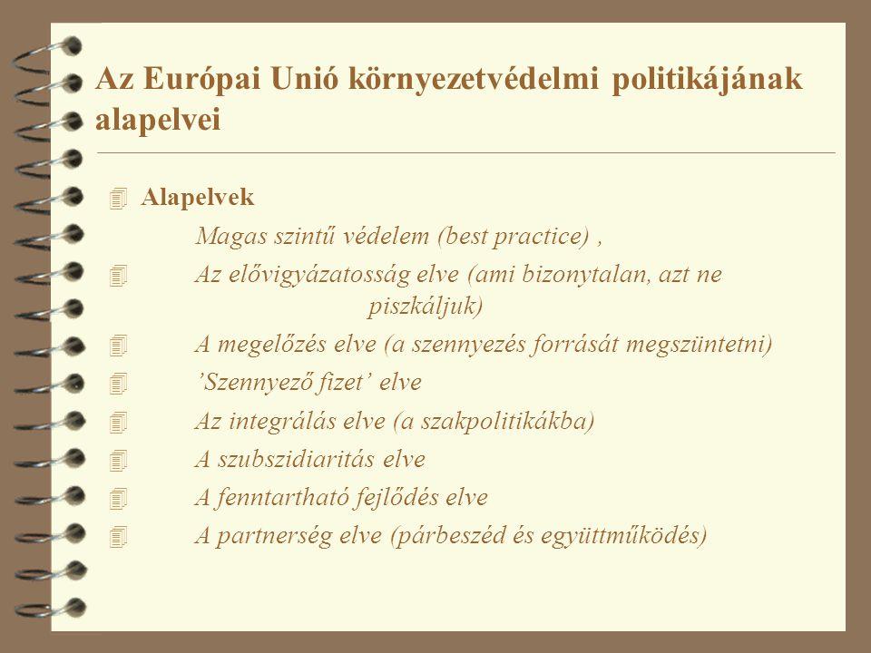 Az Európai Unió környezetvédelmi politikájának alapelvei 4 Alapelvek Magas szintű védelem (best practice), 4 Az elővigyázatosság elve (ami bizonytalan, azt ne piszkáljuk) 4 A megelőzés elve (a szennyezés forrását megszüntetni) 4 'Szennyező fizet' elve 4 Az integrálás elve (a szakpolitikákba) 4 A szubszidiaritás elve 4 A fenntartható fejlődés elve 4 A partnerség elve (párbeszéd és együttműködés)