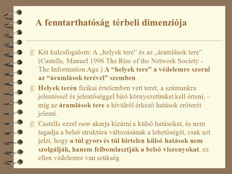 """4 Két kulcsfogalom: A """"helyek tere és az """"áramlások tere (Castells, Manuel 1996 The Rise of the Network Society - The Information Age.) A helyek tere a védelemre szorul az áramlások terével szemben."""