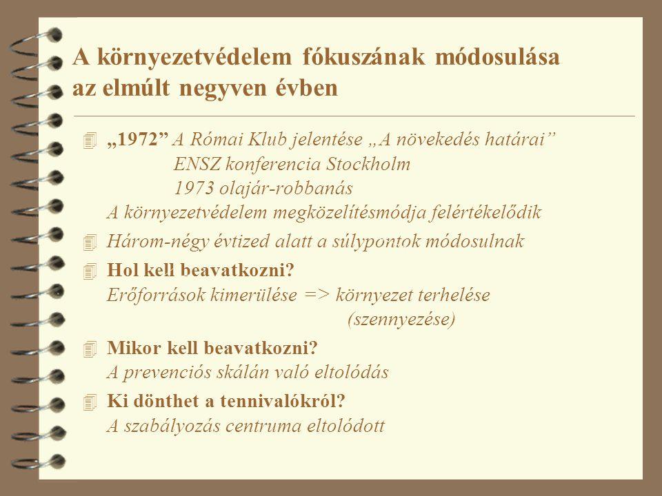 """A környezetvédelem fókuszának módosulása az elmúlt negyven évben 4 """"1972 A Római Klub jelentése """"A növekedés határai ENSZ konferencia Stockholm 1973 olajár-robbanás A környezetvédelem megközelítésmódja felértékelődik 4 Három-négy évtized alatt a súlypontok módosulnak 4 Hol kell beavatkozni."""