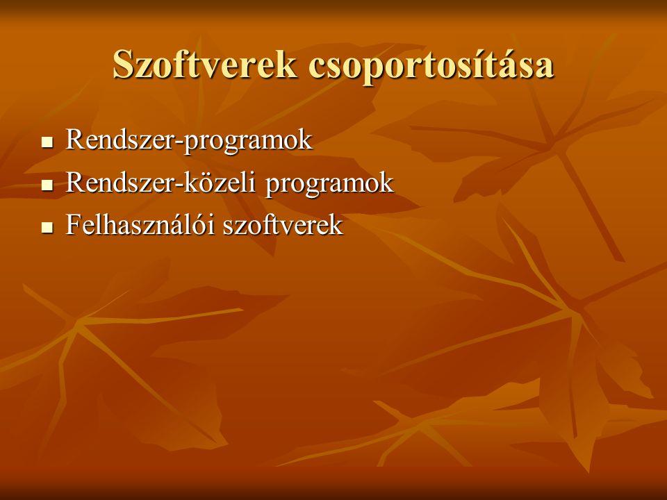Szoftverek csoportosítása Rendszer-programok Rendszer-programok Rendszer-közeli programok Rendszer-közeli programok Felhasználói szoftverek Felhasználói szoftverek