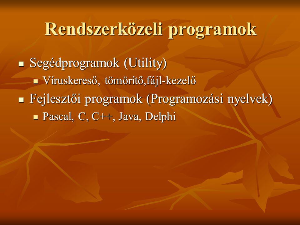Rendszerközeli programok Segédprogramok (Utility) Segédprogramok (Utility) Víruskereső, tömörítő,fájl-kezelő Víruskereső, tömörítő,fájl-kezelő Fejlesztői programok (Programozási nyelvek) Fejlesztői programok (Programozási nyelvek) Pascal, C, C++, Java, Delphi Pascal, C, C++, Java, Delphi