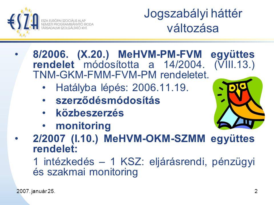 2007.január 25.3 Kapcsolattartás ESZA Kht. PEJ Látogatás Mon.