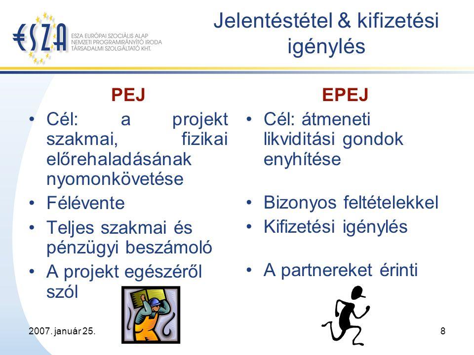 2007. január 25.19 Köszönjük figyelmüket! ESZA Kht. www.esf.hu EUtamogatas@esf.hu