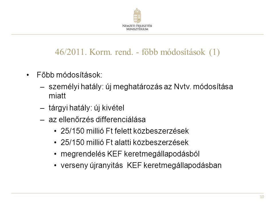 10 46/2011. Korm. rend. - főbb módosítások (1) Főbb módosítások: –személyi hatály: új meghatározás az Nvtv. módosítása miatt –tárgyi hatály: új kivéte
