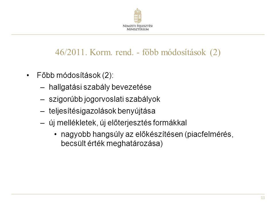 11 46/2011. Korm. rend. - főbb módosítások (2) Főbb módosítások (2): –hallgatási szabály bevezetése –szigorúbb jogorvoslati szabályok –teljesítésigazo