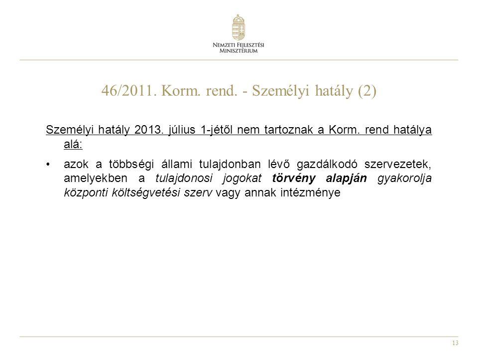 13 46/2011. Korm. rend. - Személyi hatály (2) Személyi hatály 2013. július 1-jétől nem tartoznak a Korm. rend hatálya alá: azok a többségi állami tula