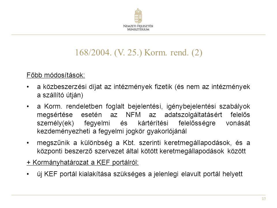 15 168/2004. (V. 25.) Korm. rend. (2) Főbb módosítások: a közbeszerzési díjat az intézmények fizetik (és nem az intézmények a szállító útján) a Korm.