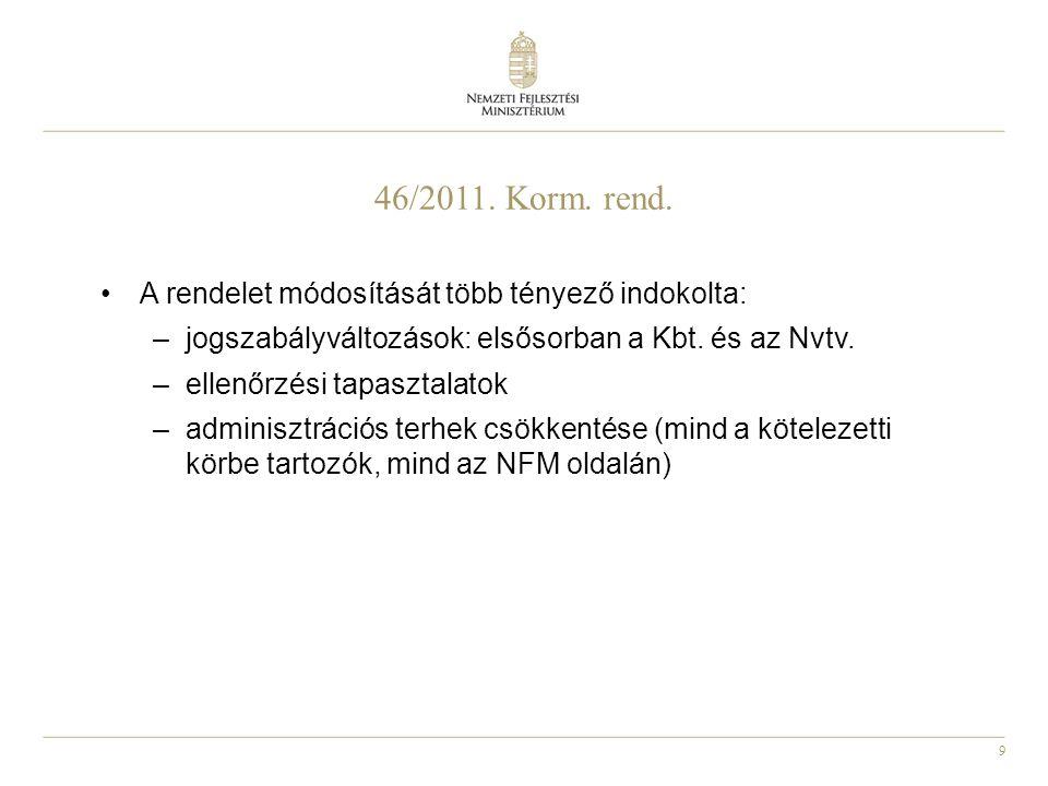 9 46/2011. Korm. rend. A rendelet módosítását több tényező indokolta: –jogszabályváltozások: elsősorban a Kbt. és az Nvtv. –ellenőrzési tapasztalatok