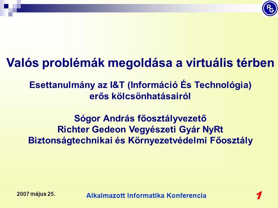 Alkalmazott Informatika Konferencia 1 2007 május 25. Valós problémák megoldása a virtuális térben Esettanulmány az I&T (Információ És Technológia) erő