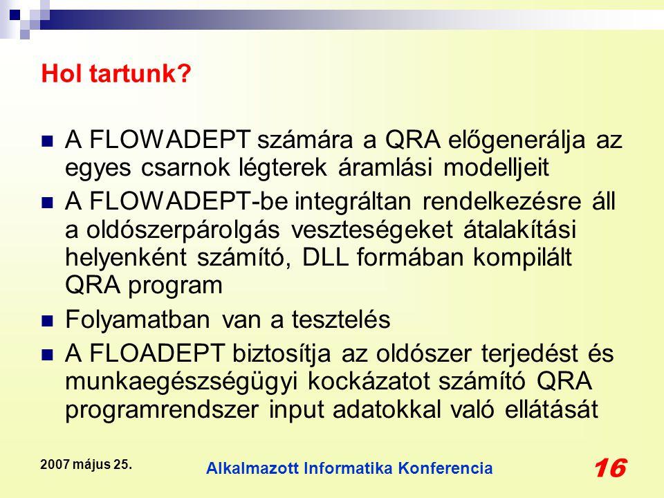 Alkalmazott Informatika Konferencia 16 2007 május 25. Hol tartunk? A FLOWADEPT számára a QRA előgenerálja az egyes csarnok légterek áramlási modelljei