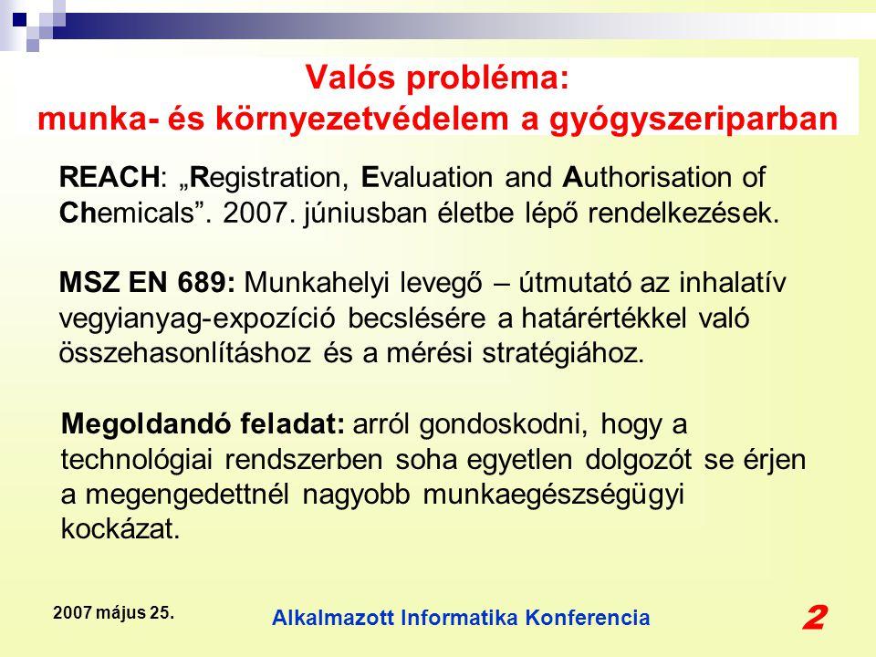 """Alkalmazott Informatika Konferencia 2 2007 május 25. Valós probléma: munka- és környezetvédelem a gyógyszeriparban REACH: """"Registration, Evaluation an"""