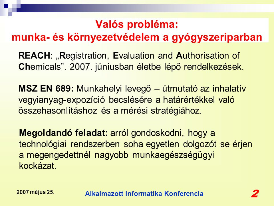 Alkalmazott Informatika Konferencia 3 2007 május 25.