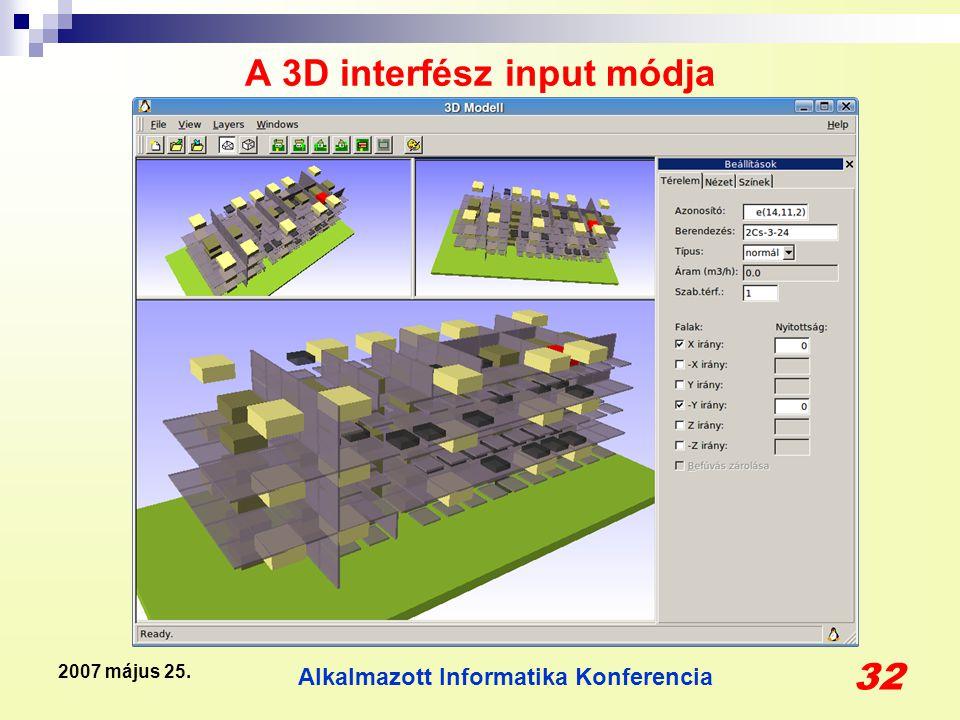 Alkalmazott Informatika Konferencia 32 2007 május 25. A 3D interfész input módja