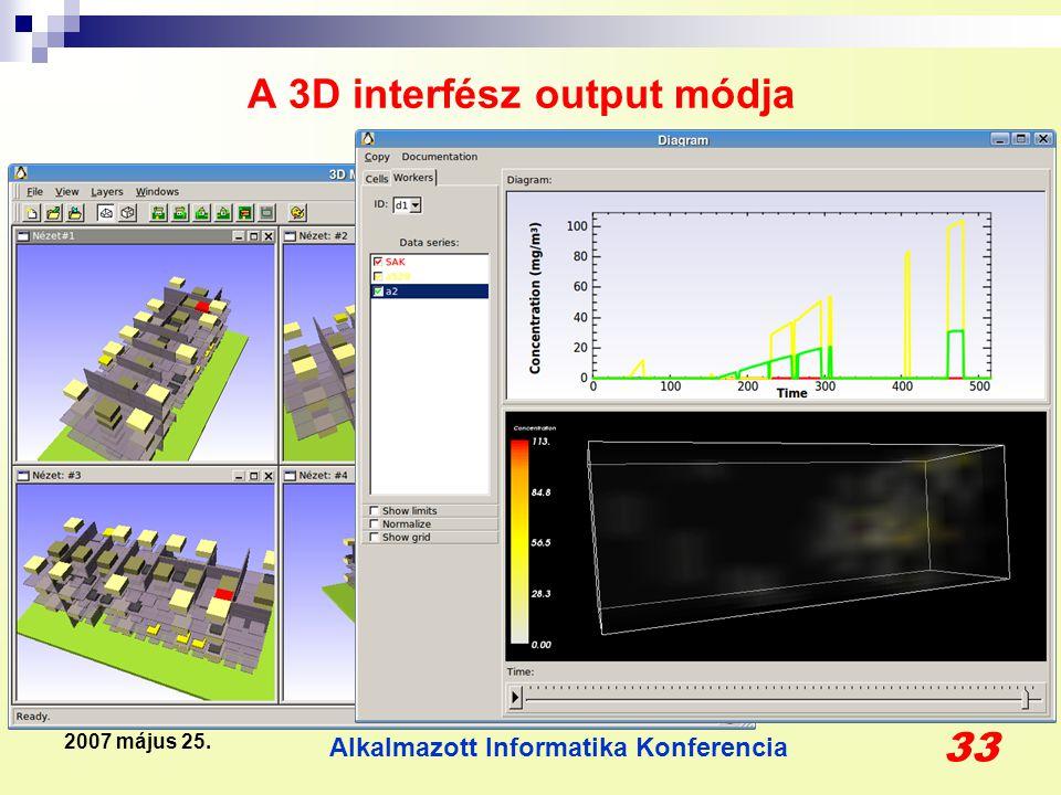 Alkalmazott Informatika Konferencia 33 2007 május 25. A 3D interfész output módja