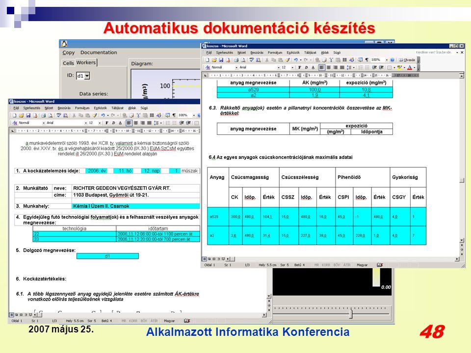 Alkalmazott Informatika Konferencia 48 2007 május 25. Automatikus dokumentáció készítés