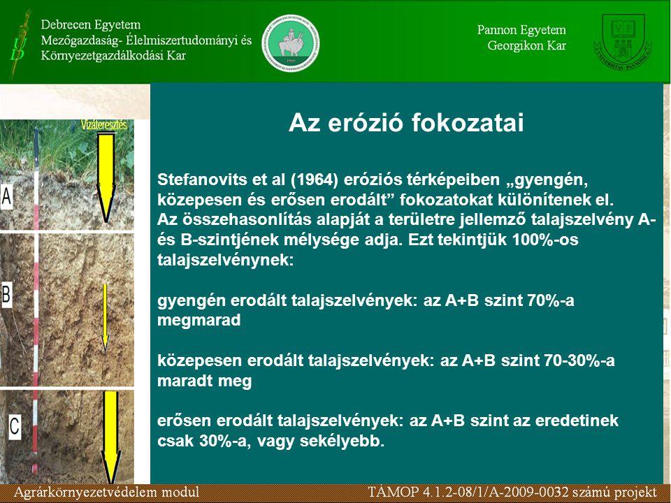 """Az erózió fokozatai Stefanovits et al (1964) eróziós térképeiben """"gyengén, közepesen és erősen erodált"""" fokozatokat különítenek el. Az összehasonlítás"""