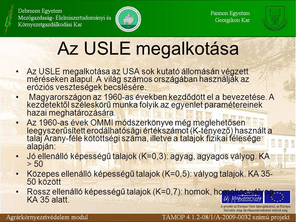 Az USLE megalkotása Az USLE megalkotása az USA sok kutató állomásán végzett méréseken alapul. A világ számos országában használják az eróziós vesztesé