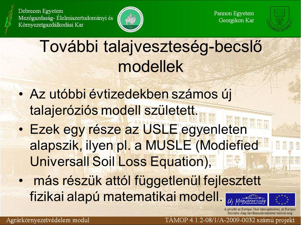 További talajveszteség-becslő modellek Az utóbbi évtizedekben számos új talajeróziós modell született. Ezek egy része az USLE egyenleten alapszik, ily