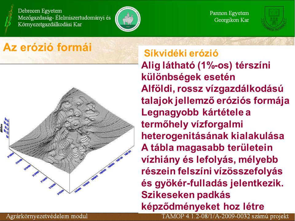 Síkvidéki erózió Alig látható (1%-os) térszíni különbségek esetén Alföldi, rossz vízgazdálkodású talajok jellemző eróziós formája Legnagyobb kártétele