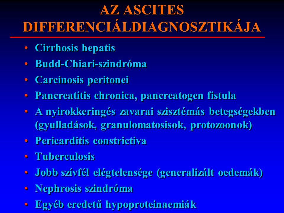 AZ ASCITES DIFFERENCIÁLDIAGNOSZTIKÁJA Cirrhosis hepatis Budd-Chiari-szindróma Carcinosis peritonei Pancreatitis chronica, pancreatogen fistula A nyiro
