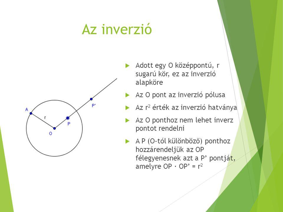 Az inverzió  Adott egy O középpontú, r sugarú kör, ez az inverzió alapköre  Az O pont az inverzió pólusa  Az r 2 érték az inverzió hatványa  Az O