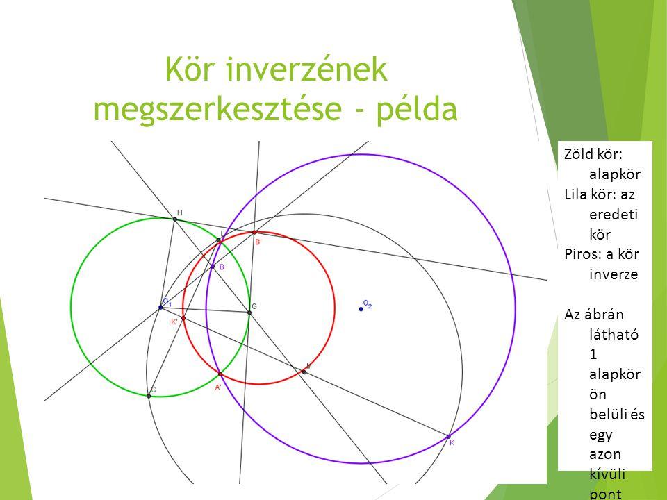 Kör inverzének megszerkesztése - példa Zöld kör: alapkör Lila kör: az eredeti kör Piros: a kör inverze Az ábrán látható 1 alapkör ön belüli és egy azo