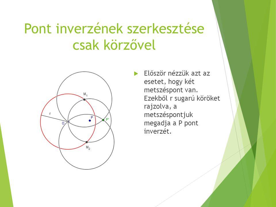 Pont inverzének szerkesztése csak körzővel  Először nézzük azt az esetet, hogy két metszéspont van. Ezekből r sugarú köröket rajzolva, a metszéspontj