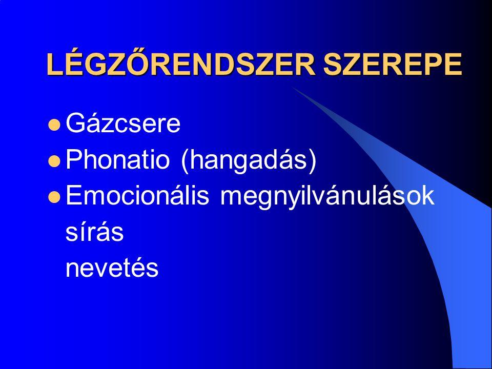 GÁZOK SZÁLLÍTÁSA A VÉRBEN OXYGÉN vvt-k haemoglobinjához kötötten – 97% a plazmában, oldott állapotban – 3% CO 2 bikarbonáttá alakulva a plazmában – 70% vvt-k haemoglobinjához kötötten – 23% a plazmában, oldott állapotban – 7%