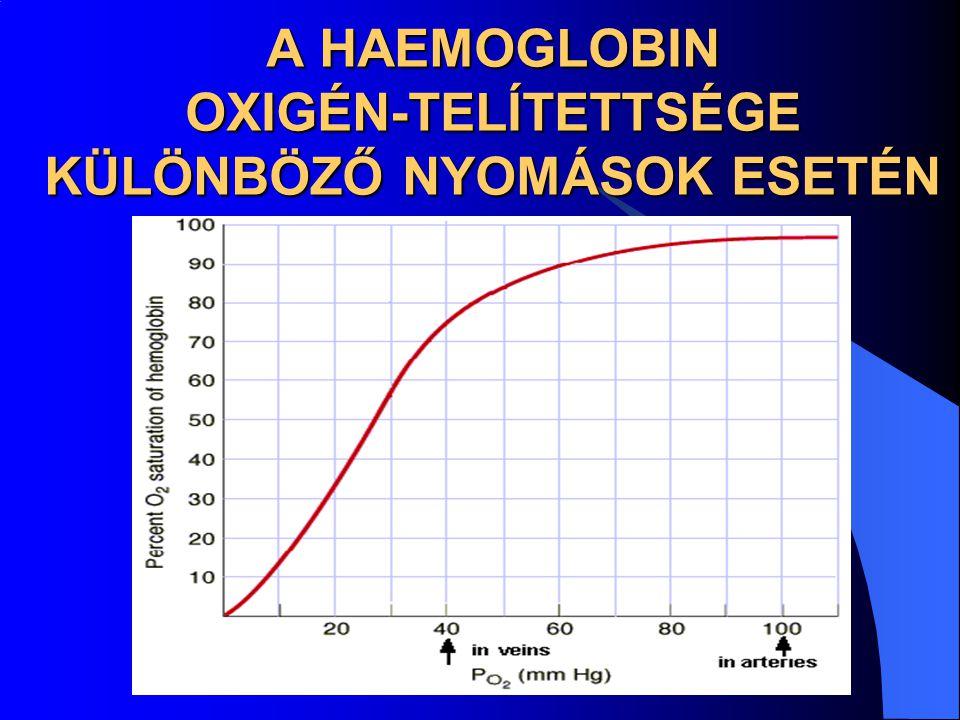 A HAEMOGLOBIN OXIGÉN-TELÍTETTSÉGE KÜLÖNBÖZŐ NYOMÁSOK ESETÉN