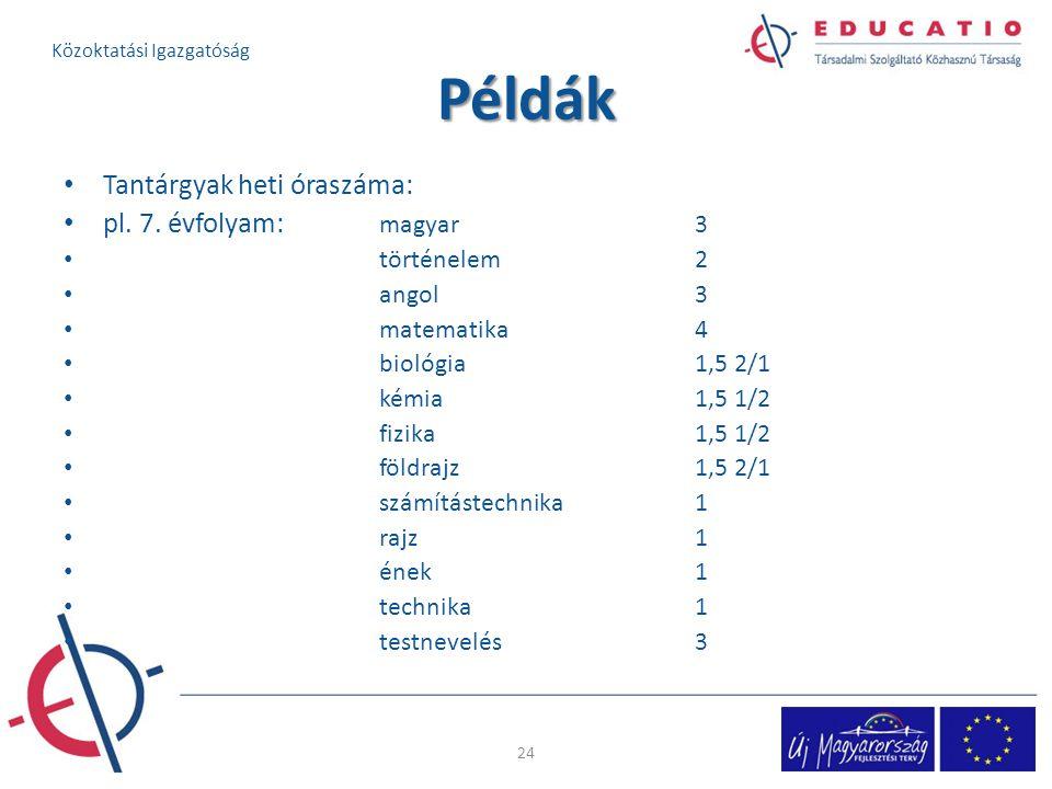 Példák Tantárgyak heti óraszáma: pl.7.
