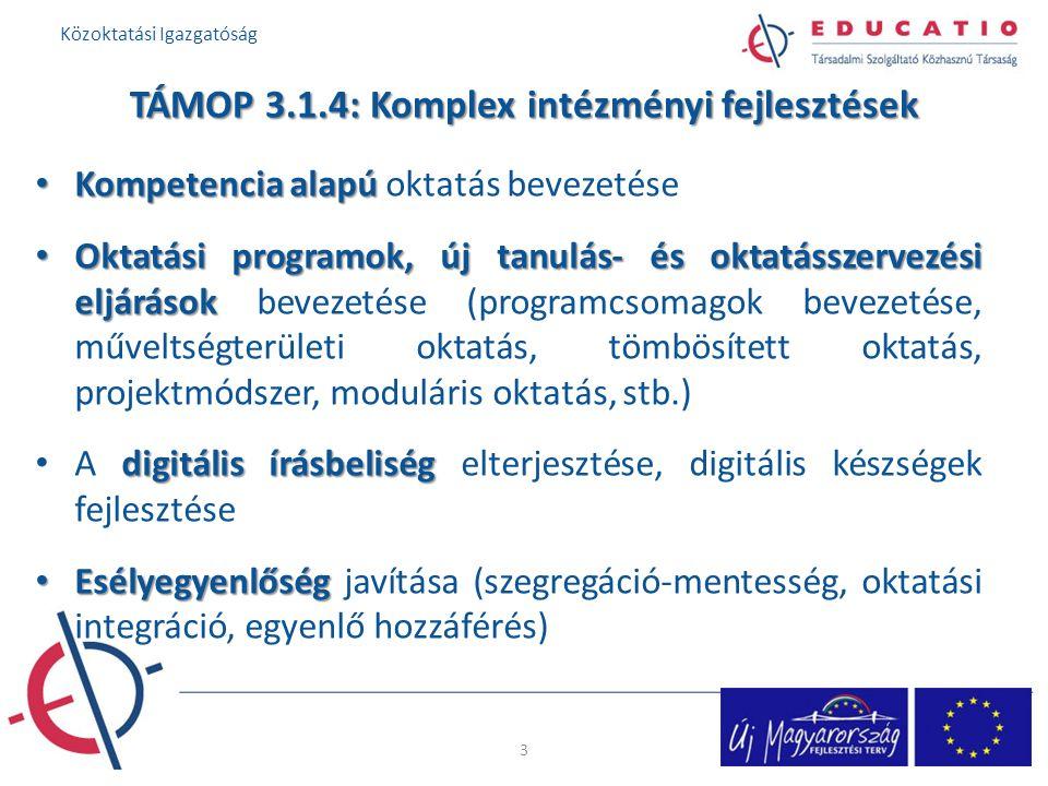 TÁMOP 3.1.4: Komplex intézményi fejlesztések Kompetencia alapú Kompetencia alapú oktatás bevezetése Oktatási programok, új tanulás- és oktatásszervezési eljárások Oktatási programok, új tanulás- és oktatásszervezési eljárások bevezetése (programcsomagok bevezetése, műveltségterületi oktatás, tömbösített oktatás, projektmódszer, moduláris oktatás, stb.) digitális írásbeliség A digitális írásbeliség elterjesztése, digitális készségek fejlesztése Esélyegyenlőség Esélyegyenlőség javítása (szegregáció-mentesség, oktatási integráció, egyenlő hozzáférés) 3 Közoktatási Igazgatóság