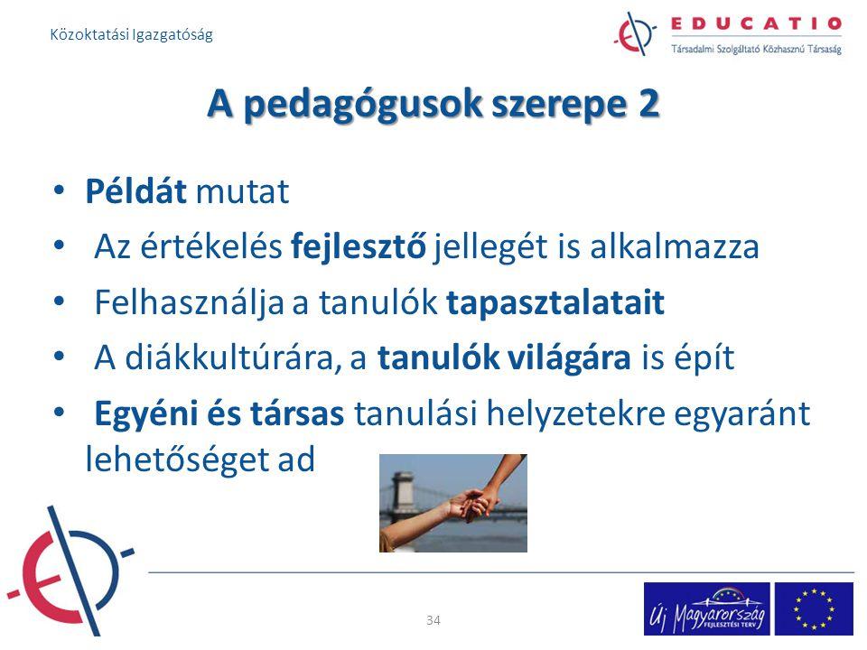 A pedagógusok szerepe 2 Példát mutat Az értékelés fejlesztő jellegét is alkalmazza Felhasználja a tanulók tapasztalatait A diákkultúrára, a tanulók világára is épít Egyéni és társas tanulási helyzetekre egyaránt lehetőséget ad 34 Közoktatási Igazgatóság