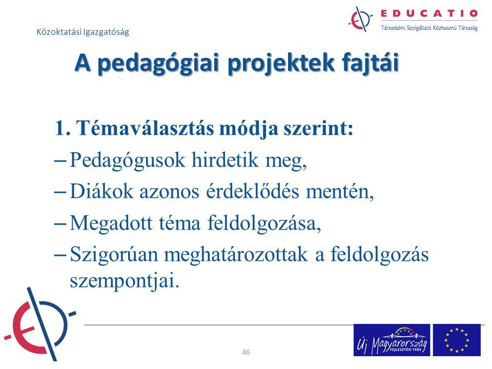 A pedagógiai projektek fajtái 1.