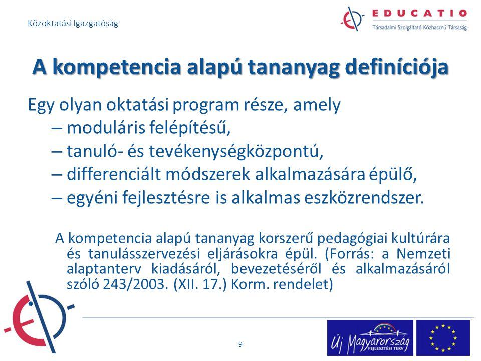 A kompetencia alapú tananyag definíciója Egy olyan oktatási program része, amely – moduláris felépítésű, – tanuló- és tevékenységközpontú, – differenciált módszerek alkalmazására épülő, – egyéni fejlesztésre is alkalmas eszközrendszer.