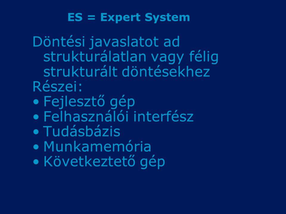 ES = Expert System Döntési javaslatot ad strukturálatlan vagy félig strukturált döntésekhez Részei: Fejlesztő gép Felhasználói interfész Tudásbázis Mu