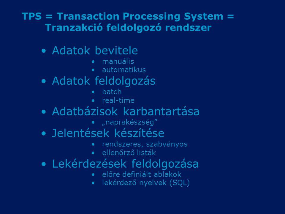 TPS = Transaction Processing System = Tranzakció feldolgozó rendszer Adatok bevitele manuális automatikus Adatok feldolgozás batch real-time Adatbázis