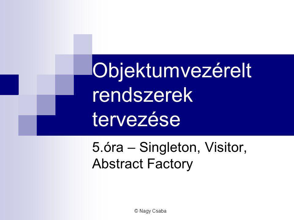 Objektumvezérelt rendszerek tervezése 5.óra – Singleton, Visitor, Abstract Factory © Nagy Csaba
